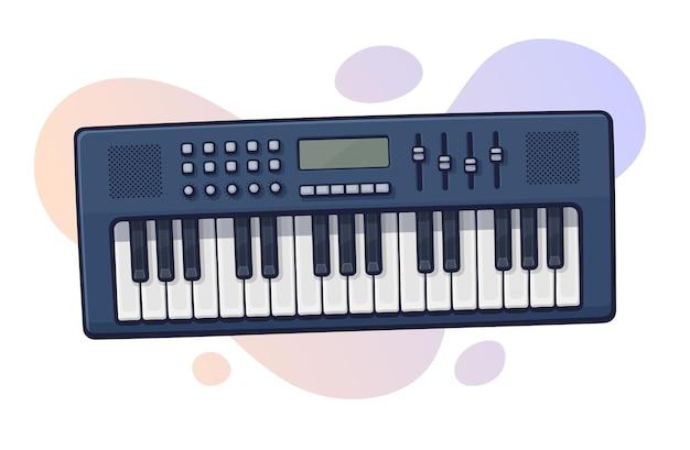 Illustrazione vettoriale. sintetizzatore di strumenti musicali a tastiera elettronica. elettro pianoforte moderno. apparecchiature pop, disco, dance, jazz. clipart con contorno per la progettazione grafica. isolato su sfondo bianco