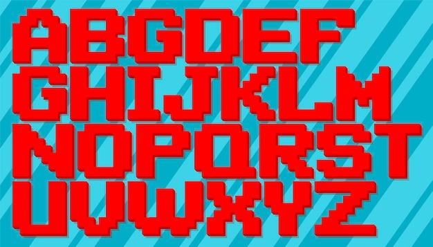 Un'illustrazione vettoriale del set di alfabeto inglese pixel rosso e blu