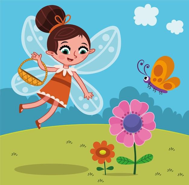 Illustrazione vettoriale di personaggio fata con cesto di fiori
