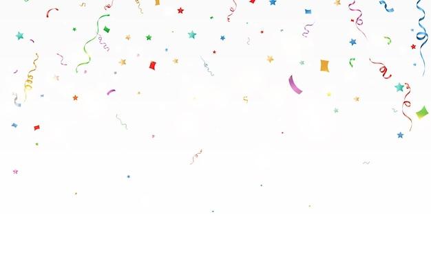 Illustrazione vettoriale di coriandoli che cadono su uno sfondo trasparente