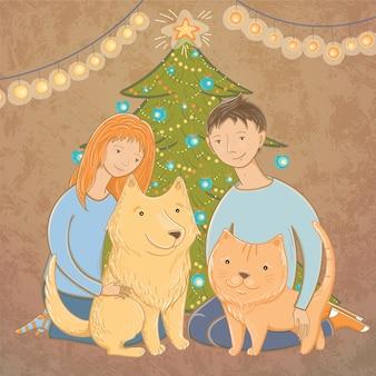Illustrazione vettoriale di una famiglia vicino all'albero di natale. atmosfera natalizia. una famiglia felice. dicembre. aiutare gli animali senza casa.
