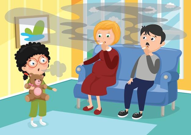 Illustrazione vettoriale di famiglia fumatori