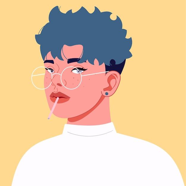 Illustrazione vettoriale di una studentessa con piercing per occhiali corti capelli blu