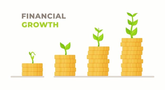 Illustrazione vettoriale di crescita finanziaria. quattro pile di monete con crescita verso l'alto. pile di crescita. crescita finanziaria.