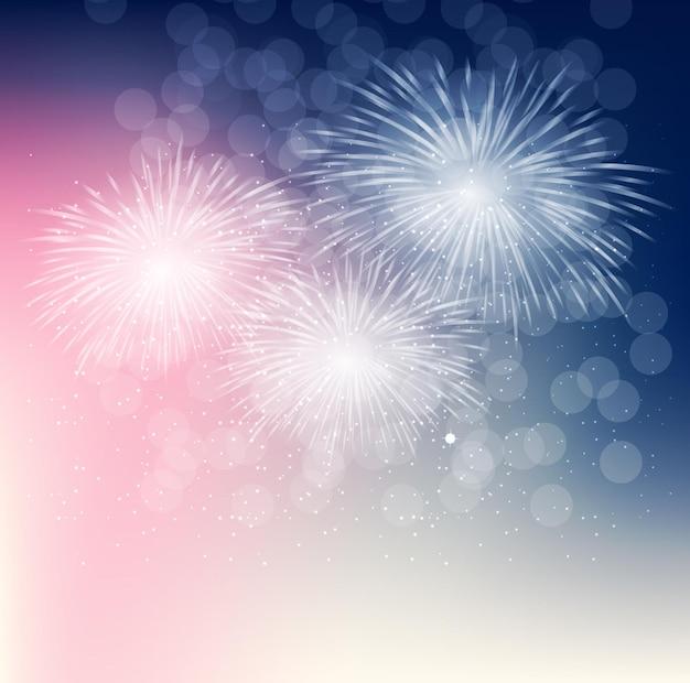 Illustrazione vettoriale di fuochi d'artificio, saluto su uno sfondo scuro eps10