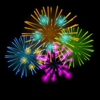 Illustrazione vettoriale di fuochi d'artificio, saluto su uno sfondo scuro