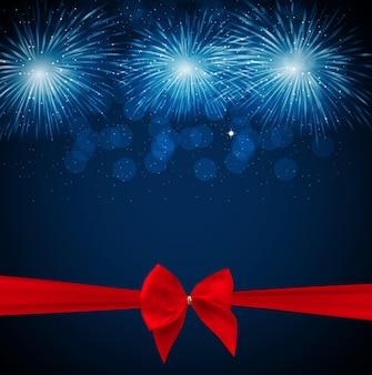 Illustrazione vettoriale di fuochi d'artificio, saluto con fiocco e nastro
