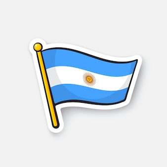 Illustrazione vettoriale bandiera dell'argentina sull'asta della bandiera simbolo di posizione per i viaggiatori cartoon sticker