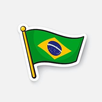 Illustrazione vettoriale bandiera del brasile sull'asta della bandiera simbolo di posizione per i viaggiatori cartoon sticker