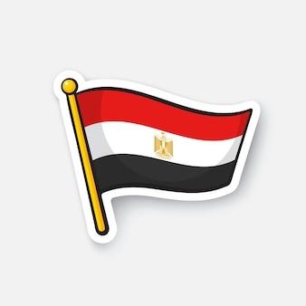 Illustrazione vettoriale bandiera dell'egitto sull'asta della bandiera adesivo cartone animato