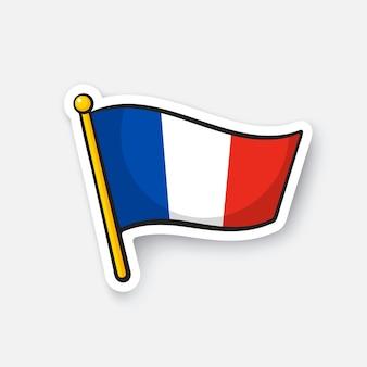 Illustrazione vettoriale bandiera della francia sull'asta della bandiera simbolo di posizione per i viaggiatori cartoon sticker