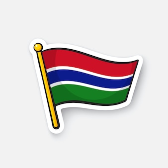 Illustrazione vettoriale bandiera dei paesi del gambia in africa simbolo di posizione per i viaggiatori adesivo