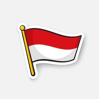 Illustrazione vettoriale bandiera dell'indonesia sull'asta della bandiera simbolo di posizione per i viaggiatori adesivo dei cartoni animati