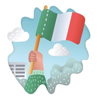 Bandiera di illustrazione vettoriale dell'italia sul simbolo della posizione del pennone per adesivo del fumetto di viaggiatori con decorazione di contorno per biglietti di auguri poster patch stampe per emblemi di vestiti