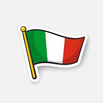 Illustrazione vettoriale bandiera dell'italia sull'asta della bandiera simbolo di posizione per i viaggiatori cartoon sticker