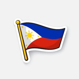 Illustrazione vettoriale bandiera delle filippine simbolo di posizione per i viaggiatori cartoon sticker