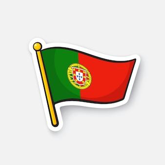 Illustrazione vettoriale bandiera del portogallo sull'asta della bandiera simbolo di posizione per i viaggiatori cartoon sticker