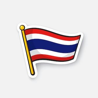 Illustrazione vettoriale bandiera della thailandia sull'asta della bandiera simbolo di posizione per i viaggiatori cartoon sticker