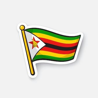 Illustrazione vettoriale bandiera dello zimbabwe simbolo di posizione per i viaggiatori isolati su sfondo bianco