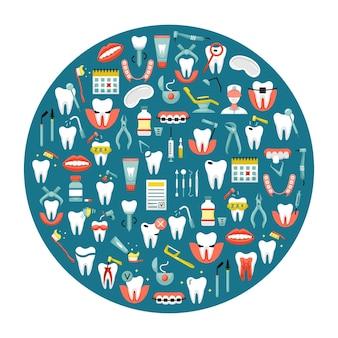 Illustrazione vettoriale di icone di odontoiatria piatte in una forma rotonda