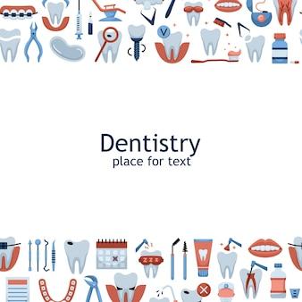 Illustrazione vettoriale di icone piatte di odontoiatria con un posto per il testo