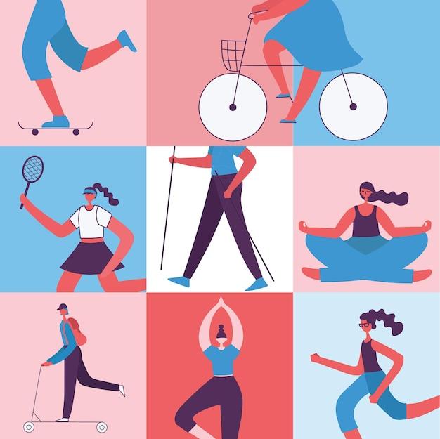Illustrazione vettoriale in design piatto di persone di gruppo che fanno diversi tipi di sport