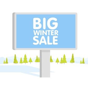 Illustrazione vettoriale di paesaggio di montagne di inverno progettato piatto con tabellone per le affissioni. può essere utilizzato come sfondo per volantini, copertine, biglietti da visita, buste e brochure.