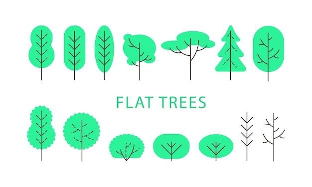 Illustrazione vettoriale, set di alberi verdi piatti. isolato su sfondo bianco, icone per disegni di natura, mappe, paesaggi. un insieme di latifoglie e conifere e arbusti, cespugli in uno stile piatto.