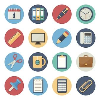 Illustrazione vettoriale set di icone piatte forniture per ufficio in un design semplice