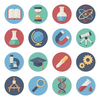 Illustrazione vettoriale set di icone piatte strumenti scientifici e didattici scuola college in design semplice