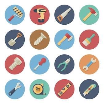 Illustrazione vettoriale set di icone piatte strumenti di lavoro in un design semplice