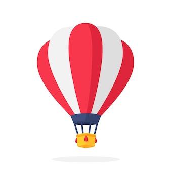 Illustrazione vettoriale in stile piatto mongolfiera con strisce rosse e bianche trasporto aereo