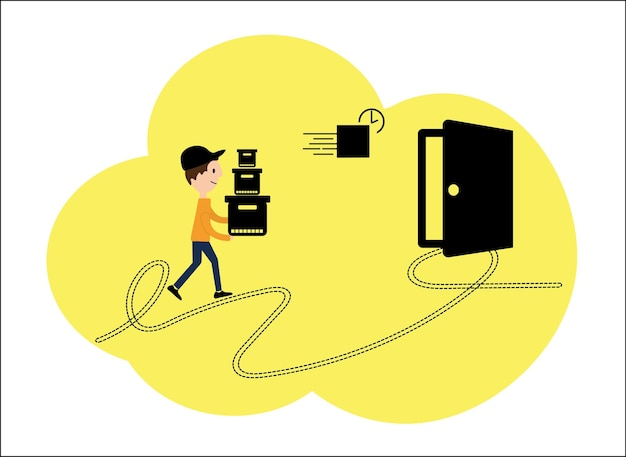 Illustrazione vettoriale, uno stile piatto. negozi internet, consegna a domicilio. carattere dei dipendenti di vari processi di consegna, design di cartoni animati.