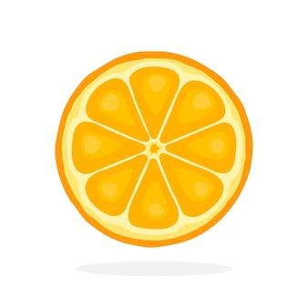 Illustrazione vettoriale in stile piatto fetta di arancia cibo vegetariano sano agrumi
