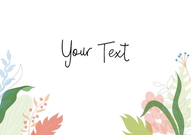 Illustrazione vettoriale di biglietto di auguri floreale, fiori colorati tropicali disegnati a mano