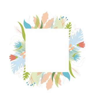 Illustrazione vettoriale di disegno del modello di biglietto di auguri floreale con posto per il testo. pianta della giungla