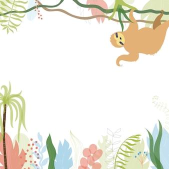Illustrazione vettoriale di disegno del modello di biglietto di auguri floreale con posto per il testo e bradipo.