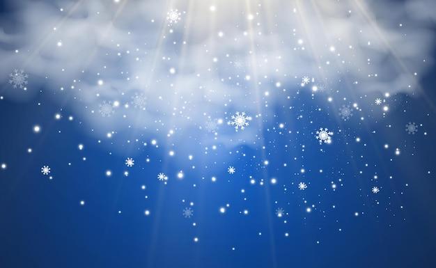 Illustrazione vettoriale di neve volante su uno sfondo trasparentefenomeno naturale della nevicata