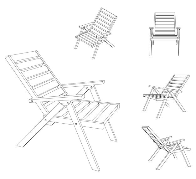 Illustrazione vettoriale di sedia pieghevole con diverse viste, disegno di contorno
