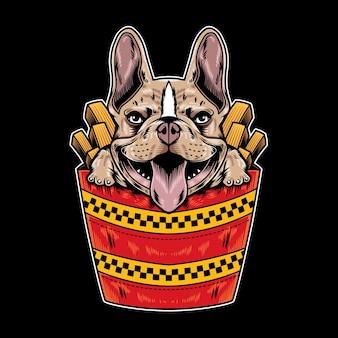 Illustrazione vettoriale di bulldog francese con divertente stile cartone animato fast food in sfondo nero