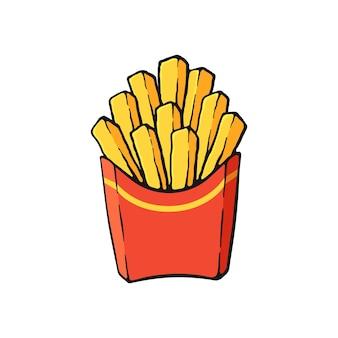 Illustrazione vettoriale patatine fritte in una confezione di carta rossa patate fritte immagine con contorno