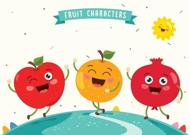 Illustrazione vettoriale di frutta caratteri