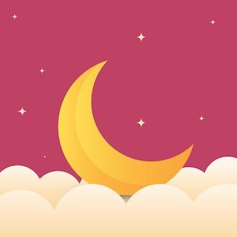Illustrazione vettoriale della luna piena da vicino e intorno alle stelle