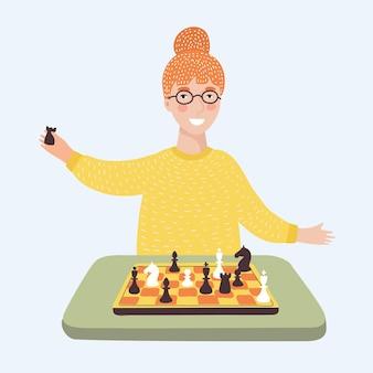 Illustrazione vettoriale di divertente cartone animato sorridente giovane donna intelligente con gli occhiali che giocano a scacchi