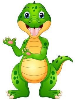 Illustrazione vettoriale di presentazione divertente cartone animato coccodrillo