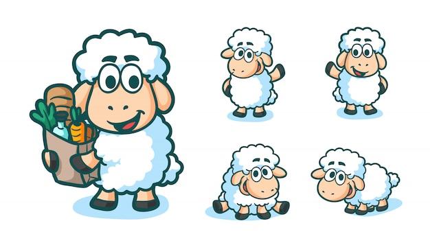 Stile disegnato a mano di coloritura del fumetto del carattere divertente delle pecore dell'illustrazione di vettore