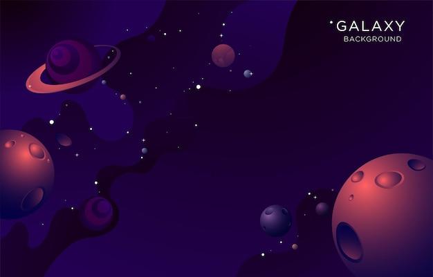 Illustrazione vettoriale sfondo della galassia con il pianeta