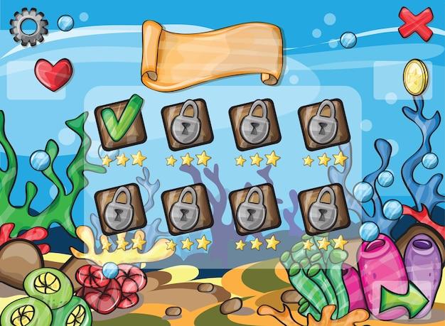 Un'illustrazione vettoriale - elementi di gioco per il tema del gioco subacqueo