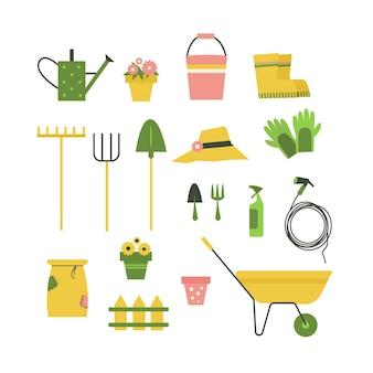 Illustrazione vettoriale di attrezzi da giardino isolati su sfondo bianco.