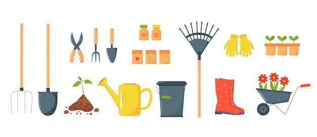 Illustrazione vettoriale di attrezzi da giardino realizzati in stile piatto alla moda su sfondo bianco